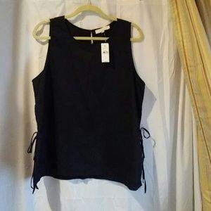 Black tank with side ties